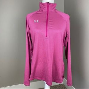 UNDER ARMOUR PINK STRIPED 3/4 ZIP ACTIVE PULLOVER